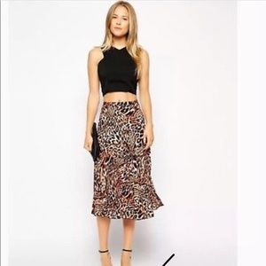 Pleated midi skirt by ASOS in animal print